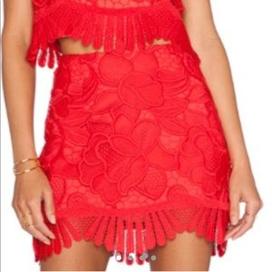 Lovers friends red caspian lace skirt small